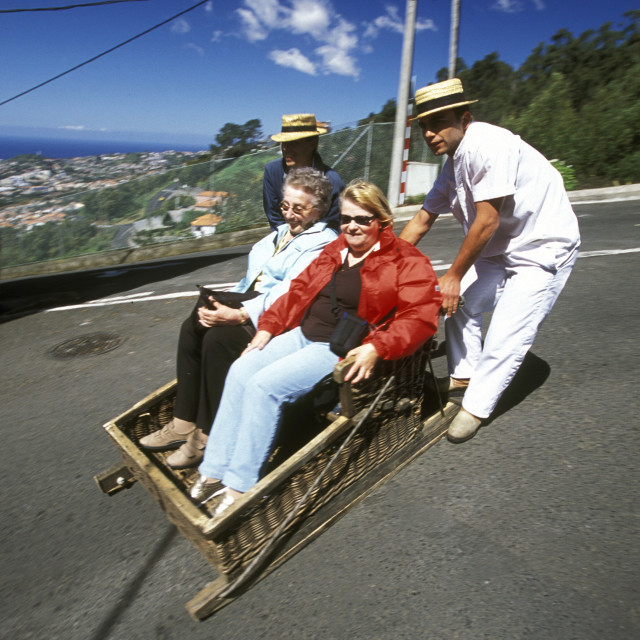 """EUROPE PORTUGAL MADEIRA FUNCHAL BASKET SLEDGE"" stock image"