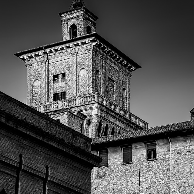 """Renaissance tower in black and white"" stock image"