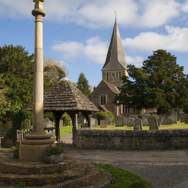 """""""St James Church,Shere. Surrey"""" stock image"""