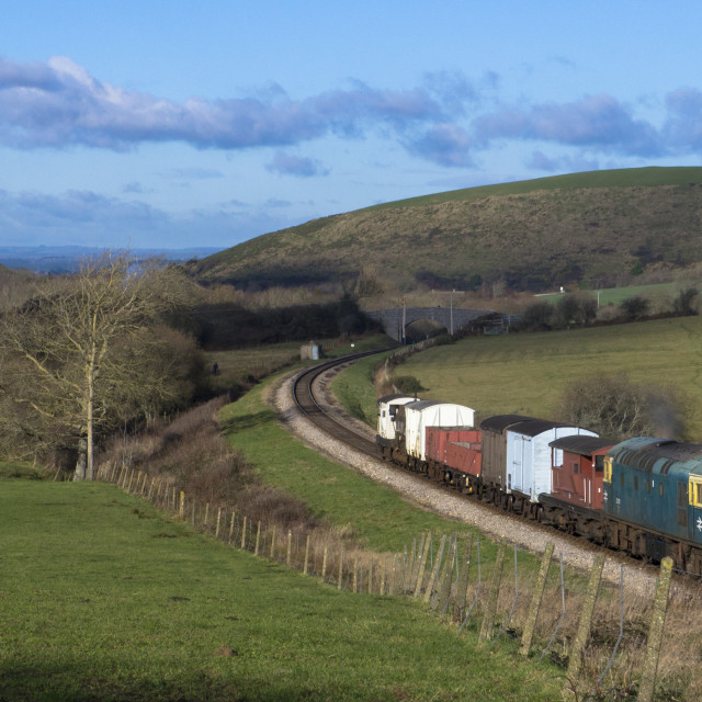 """Diesel goods train on the Swanage Railway near Corfe Castle ,Dorset.England"" stock image"
