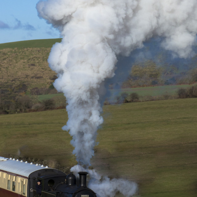 """Steam Train on the Swanage Railway near Corfe Castle, Dorset.England"" stock image"