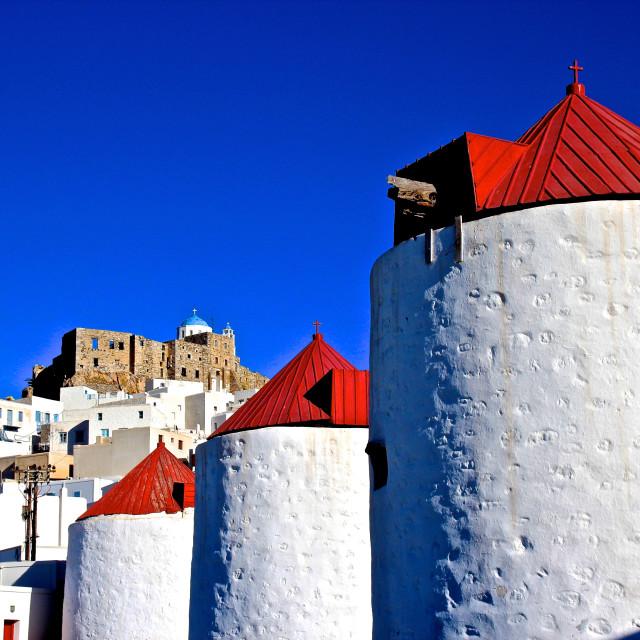 """Windmills in Astypalea island of Greece"" stock image"