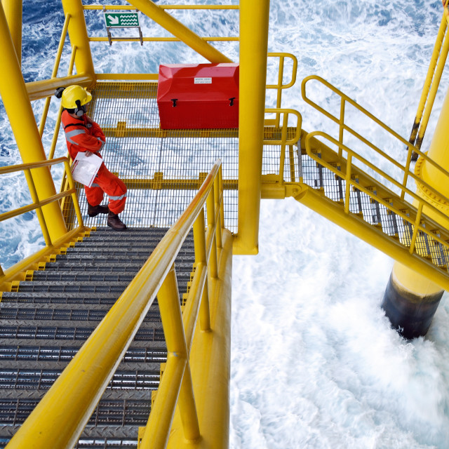 """offshore worker on the platform rig"" stock image"