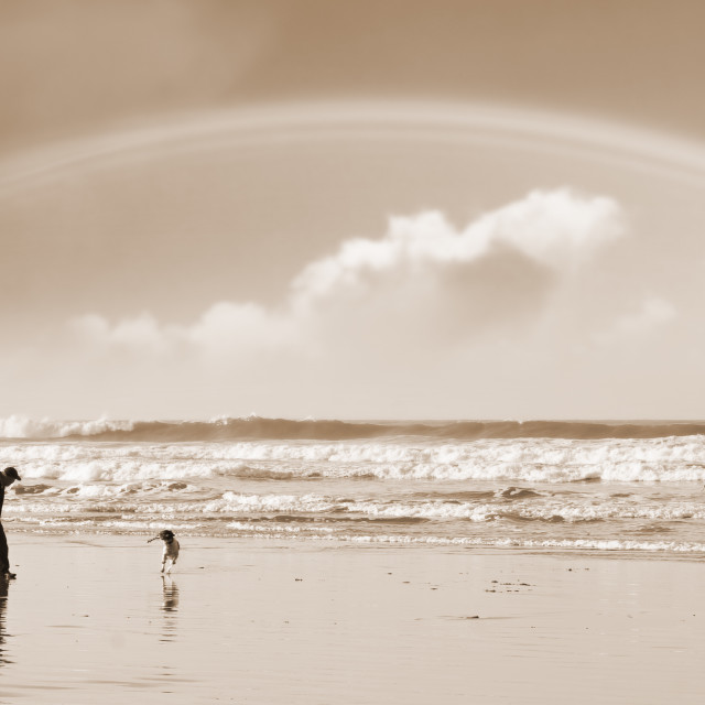 """""""one man a rainbow and his dog"""" stock image"""