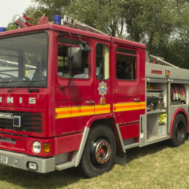 """1987 built Dennis DS Fire Engine .West Sussex Fire Brigade."" stock image"
