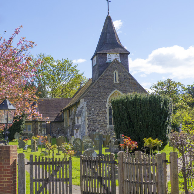 """St. Mary the Virgin Church,Buckland,Surrey."" stock image"
