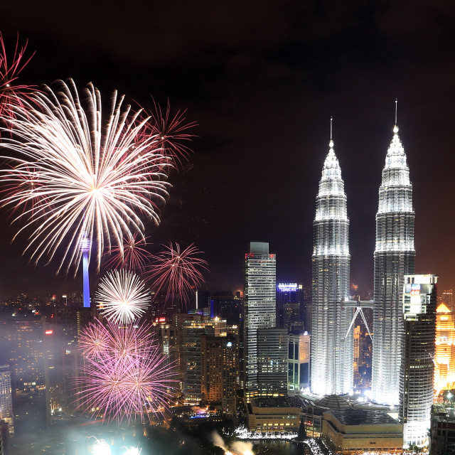 """Fireworks display with KLCC background"" stock image"