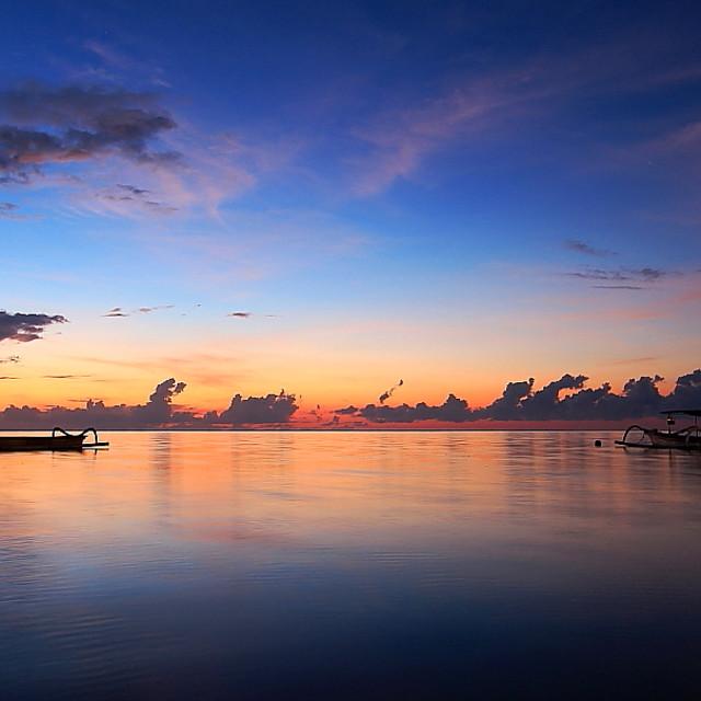 """sunrise at pantai sanur bali"" stock image"