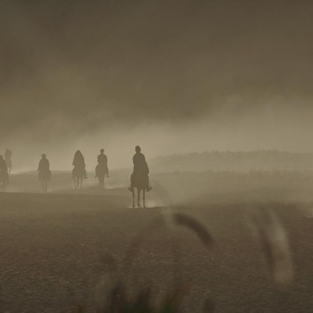 """""""horsemen on the desert at Mount Bromo"""" stock image"""