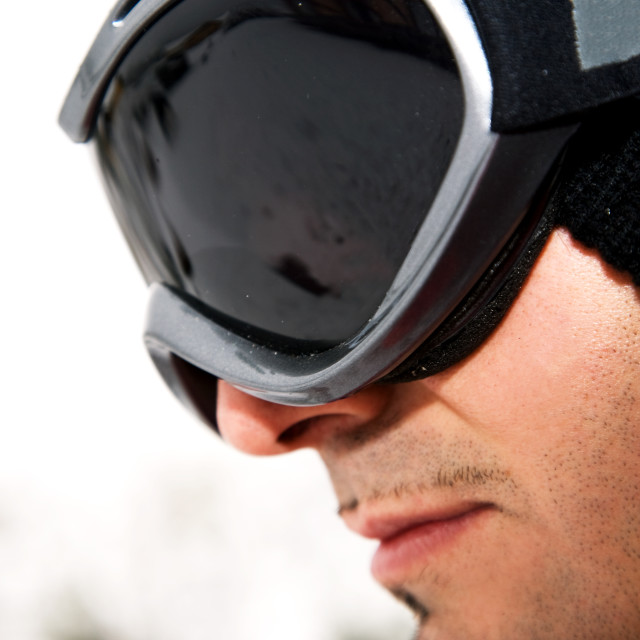 """Man with ski goggles"" stock image"