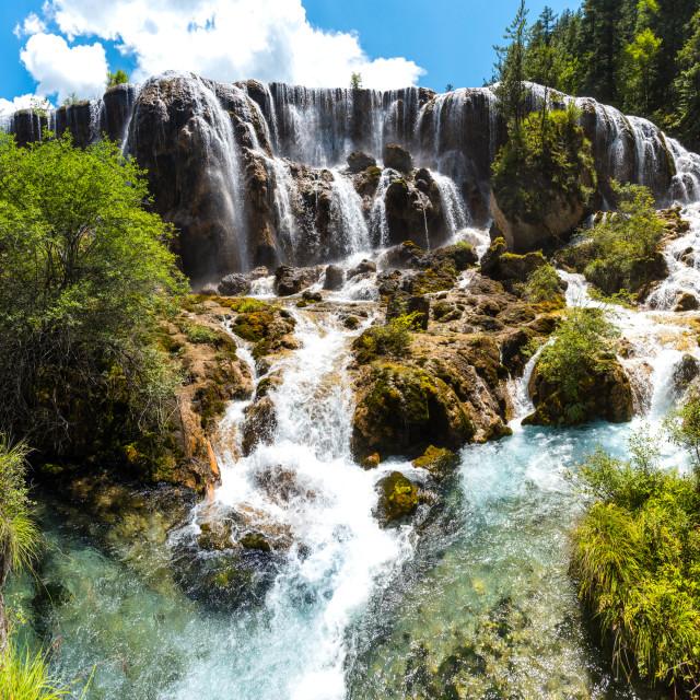 """Pearl Shoal Waterfalls, Jiuzhaigou"" stock image"