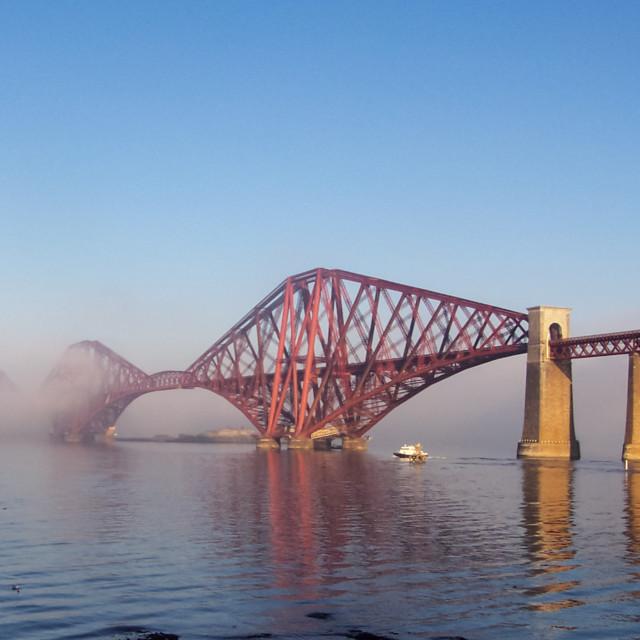 """Misty Forth Rail Bridge"" stock image"