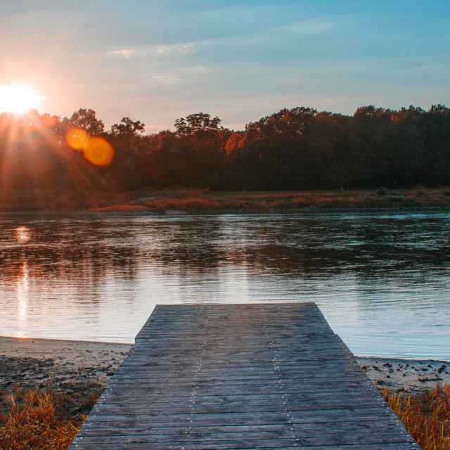"""River At Sunset"" stock image"
