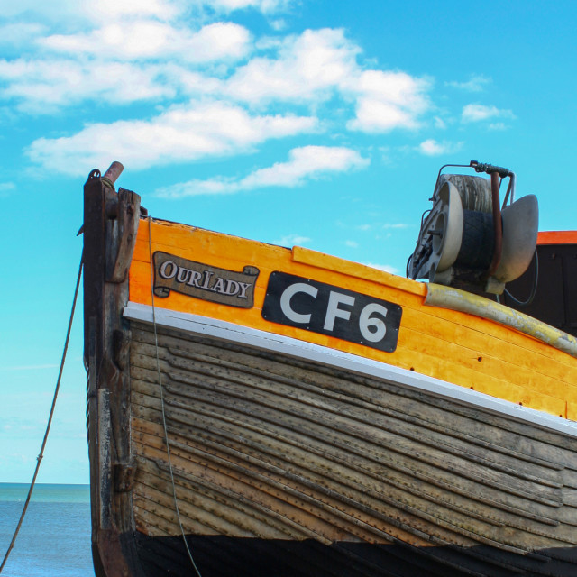 """""""Our Lady fishing boat"""" stock image"""