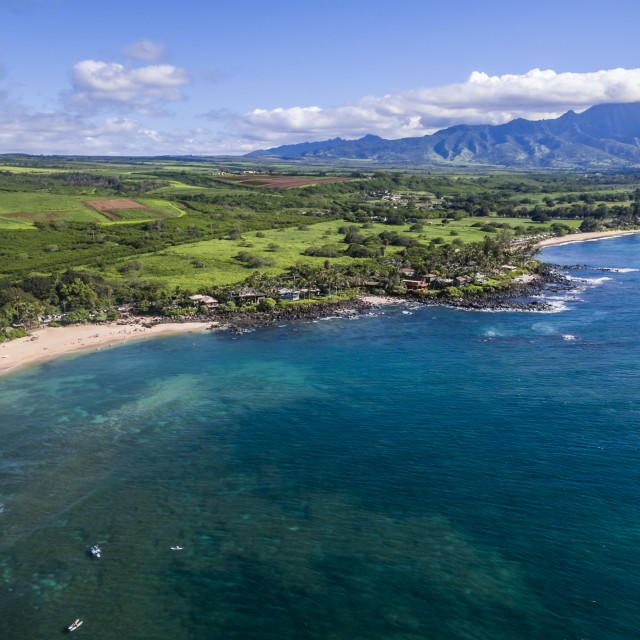 """Aerial view of the North shore of Oahu"" stock image"