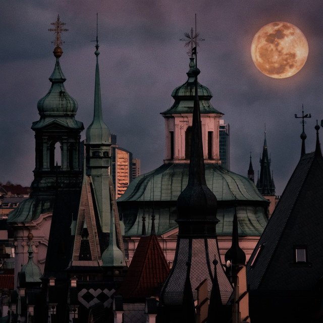"""Prague City Rooftops with Full Moon"" stock image"