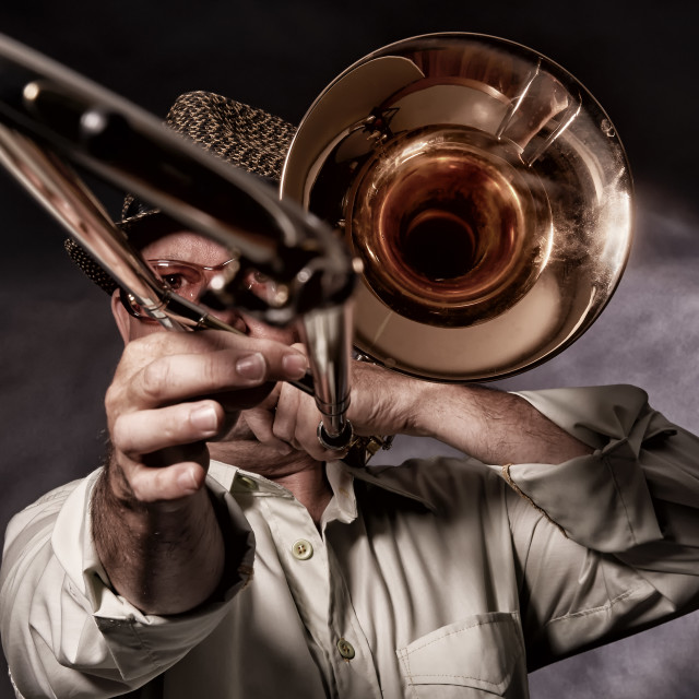 """Trombone Player."" stock image"