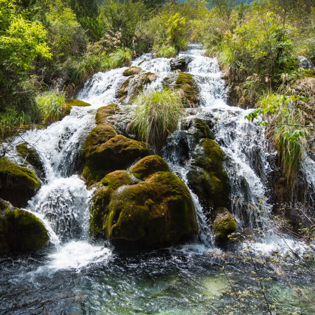 """Shuzheng Valley Waterfall"" stock image"