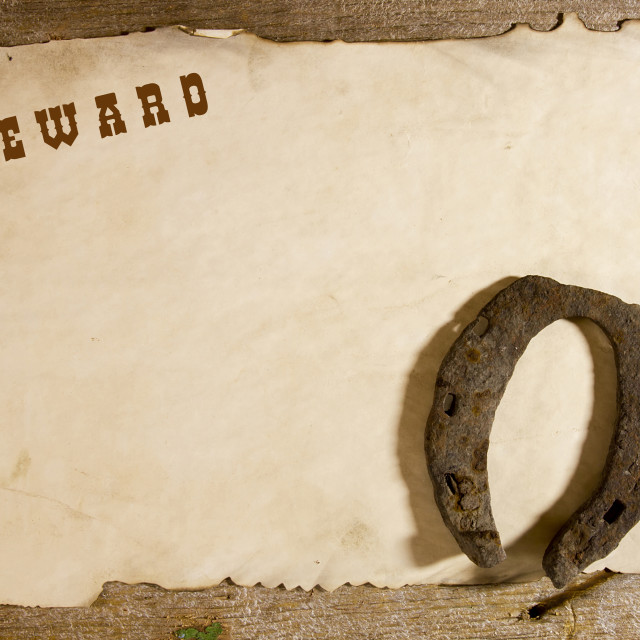 """""""Old horseshoe and the announcement of the award"""" stock image"""