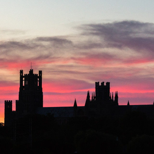 """Ely Cathedral at Sunset, Friday 26th August 2016"" stock image"