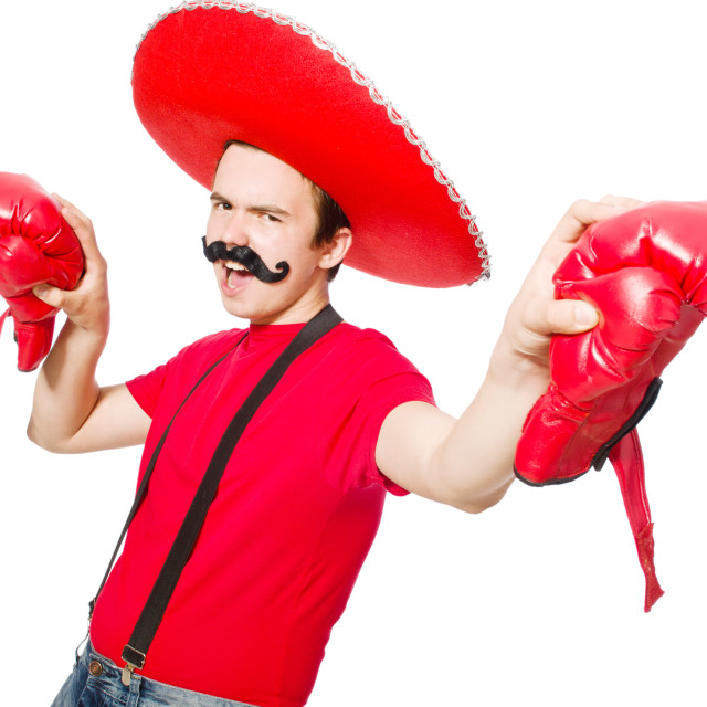 """Funny mexican with boxer gloves isolated on the white"" stock image"
