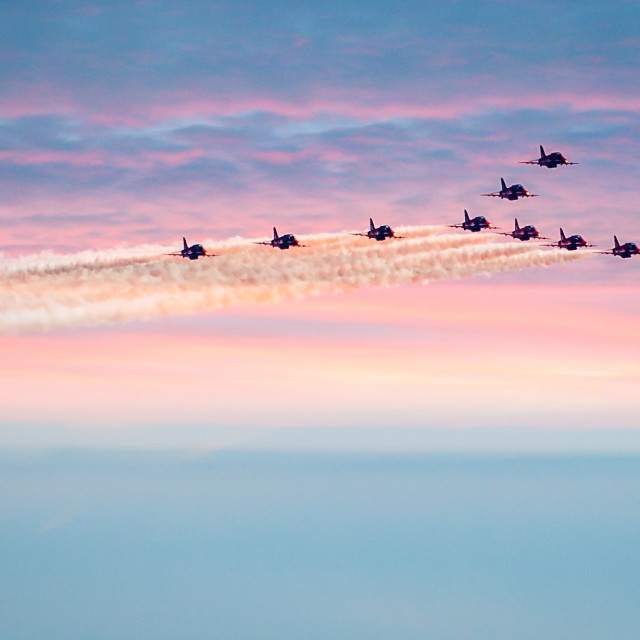 """Red Arrows A Sunset Flypast"" stock image"