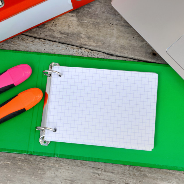 """""""index cards and office supplies"""" stock image"""