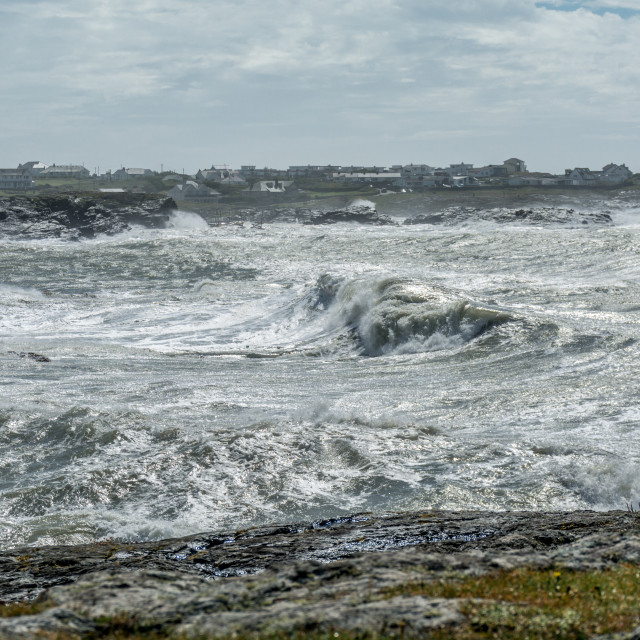 """""""Large waves at Trearddur Bay in stormy conditions"""" stock image"""