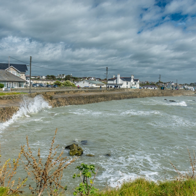 """""""Trearddur Bay on day of the August storms"""" stock image"""