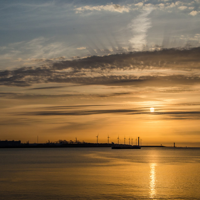 """""""Sunset at the Hook"""" stock image"""