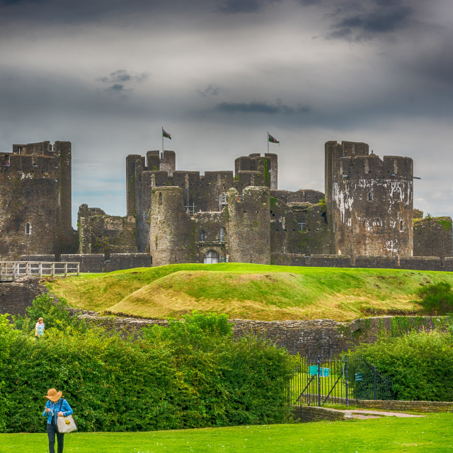 """Caerphilly Castle East View 1"" stock image"