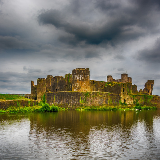 """Caerphilly Castle South East View 1"" stock image"