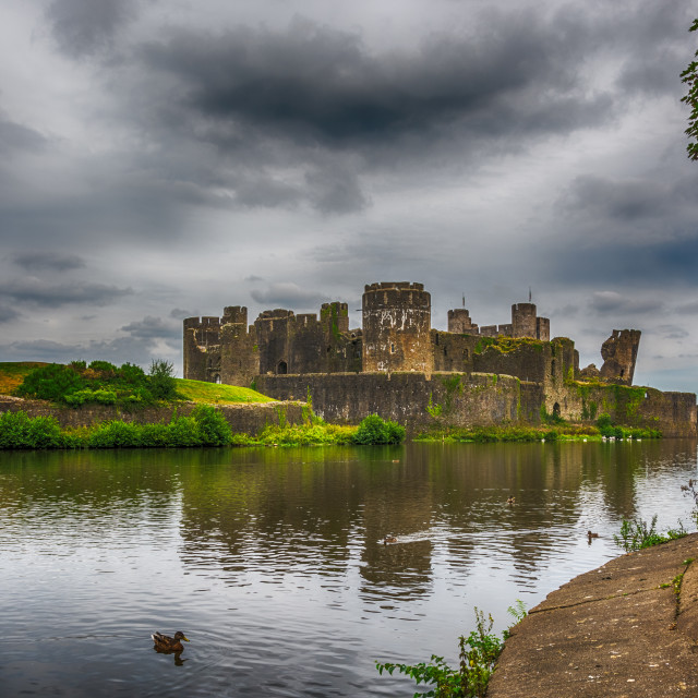 """Caerphilly Castle South East View 2"" stock image"