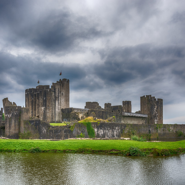 """Caerphilly Castle North View 3"" stock image"