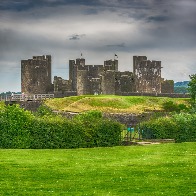 """Caerphilly Castle East View 2"" stock image"