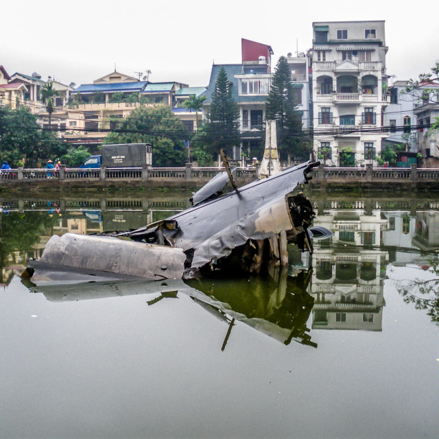 """B52 bomber in Hanoi Lake"" stock image"