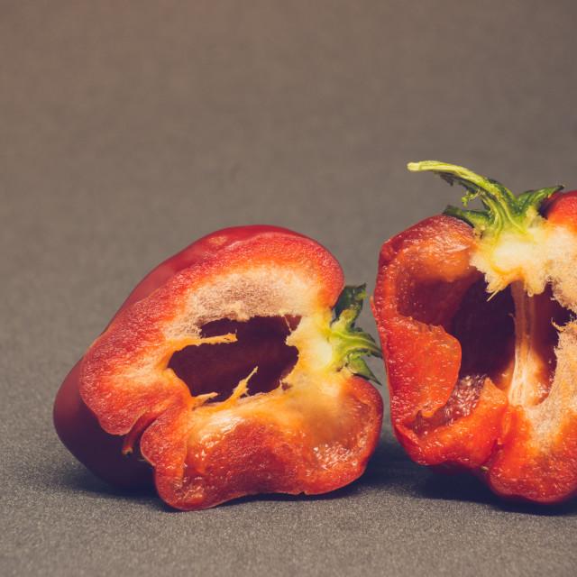 """""""Pepper in half"""" stock image"""