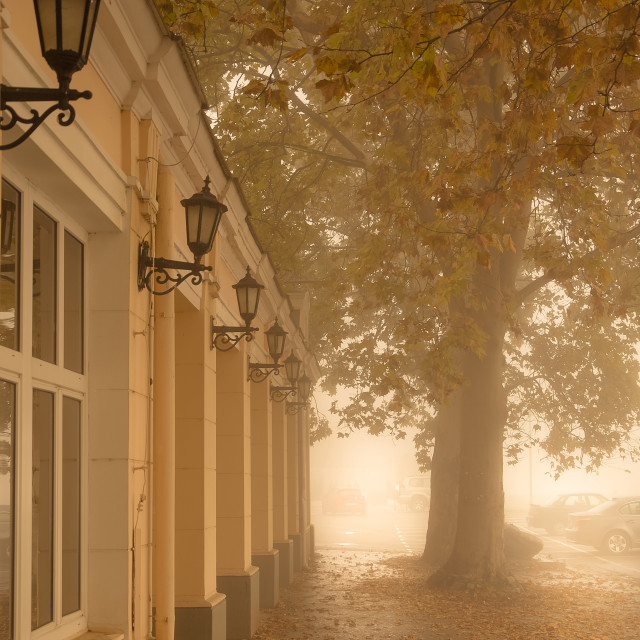 """Kapetanija building, foggy day"" stock image"