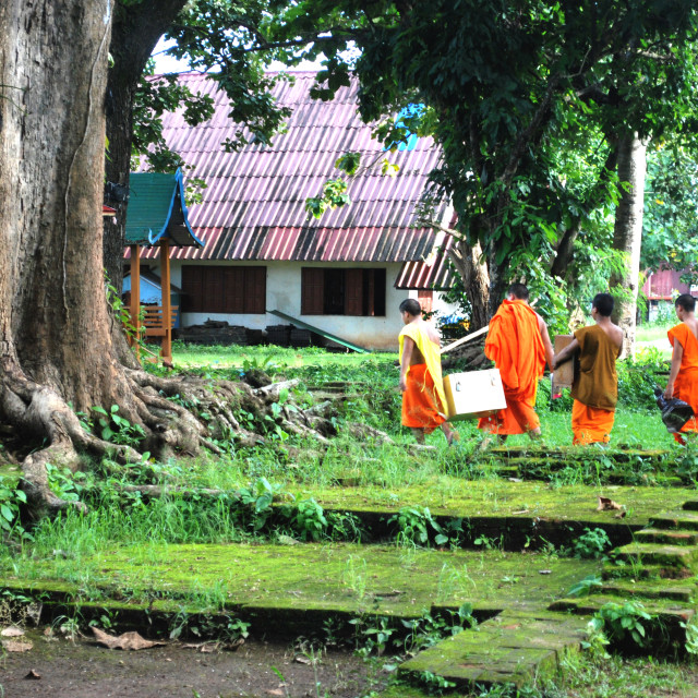 """Monks At Chedi Luang, Thailand"" stock image"