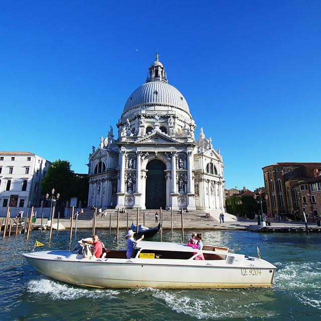 """""""Santa Maria della Salute & A Water Taxi"""" stock image"""