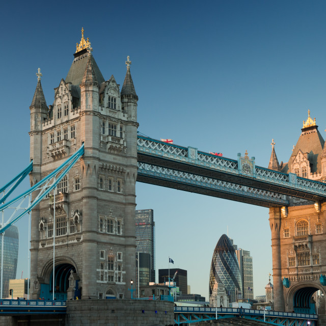 """Tower bridge in London at sunset."" stock image"