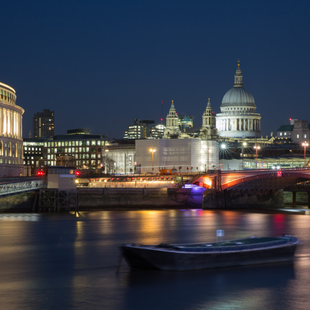 """St Pauls cathedral at night."" stock image"