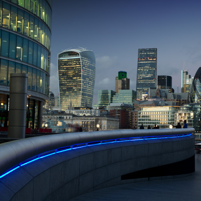 """London financial centre at dusk."" stock image"
