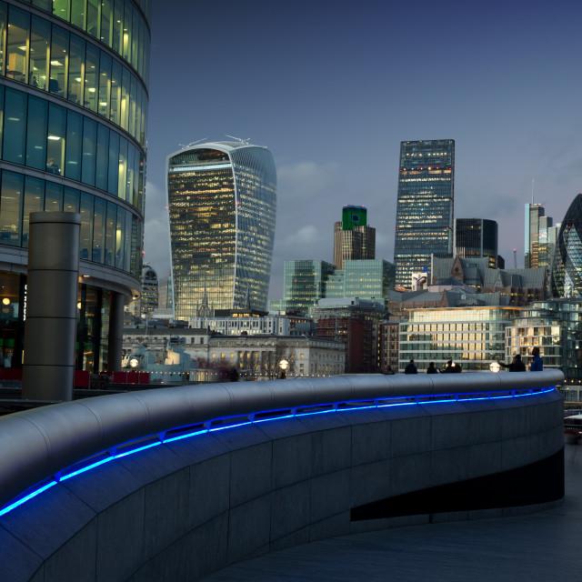 """London financial centre at dusk."" stock image"
