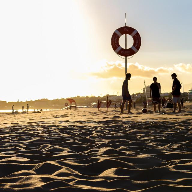 """Sunset in Carcavelos beach"" stock image"