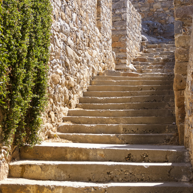 """""""Stairs and walls in the Spinalonga island of Crete, Greece"""" stock image"""