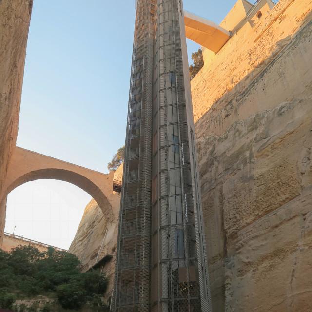 """Valletta,Malta. Barrakka lift from Grand Harbour to Upper Barrakka Gardens."" stock image"