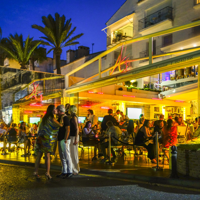 """Puerto Banus at night"" stock image"