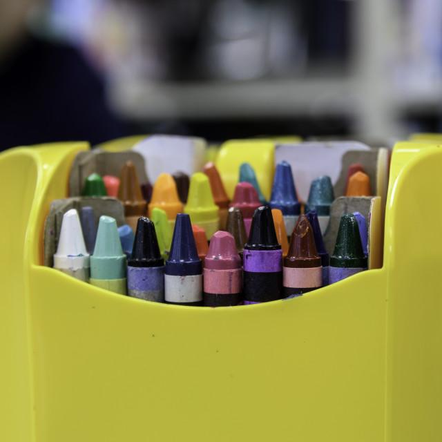 """Box of crayons"" stock image"