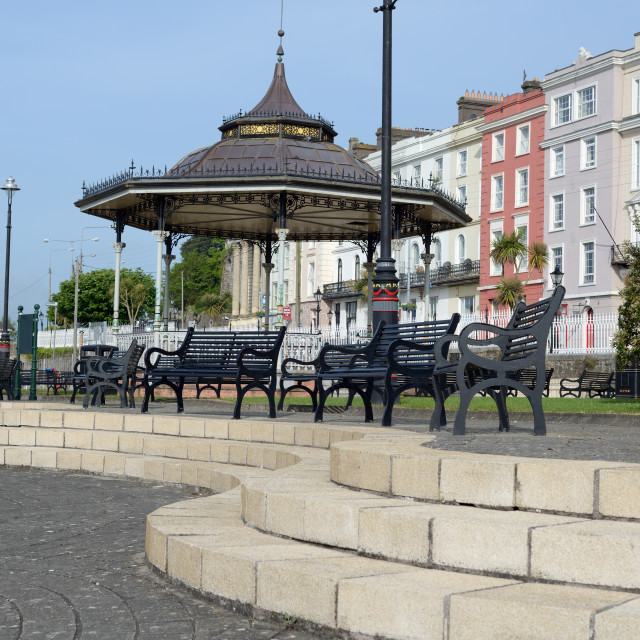 """""""park and benches in cobh"""" stock image"""